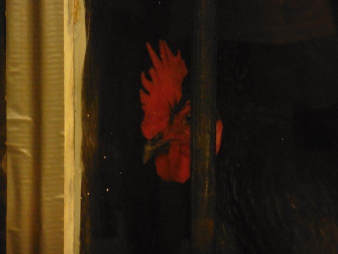 rooster cogburn closeup in window